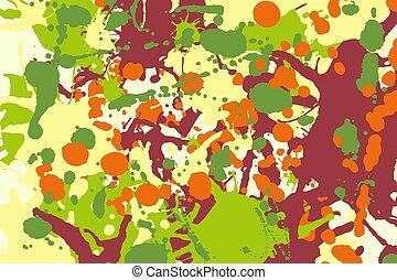 Maroon orange yellow green ink splashes background