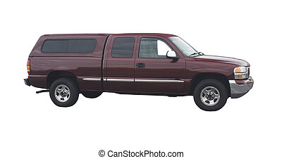 maroon pickup truck