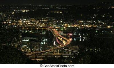Marquam Bridge Freeway Light Trails - Marquam Bridge Freeway...
