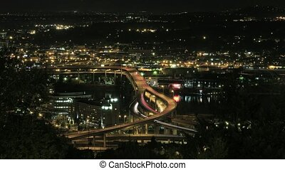 Marquam Bridge Freeway Light Trails - Marquam Bridge Freeway...