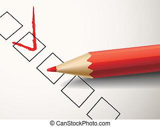marquant stylo, boîte, rouges, chèque