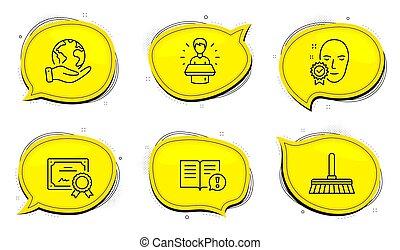 marque, ambassadeur, nettoyage, vérifié, faits, set., lavette, icônes, signe., vecteur, figure