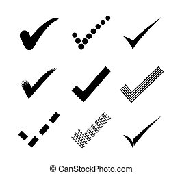 marque, chèque, icônes
