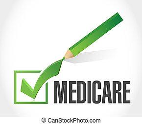 marque, concept, assurance-maladie, chèque, signe