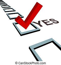 marque contrôle, à, vote, oui, 3d, boîte, poll, élection