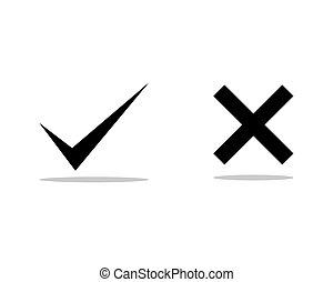 marque contrôle, croix, icônes