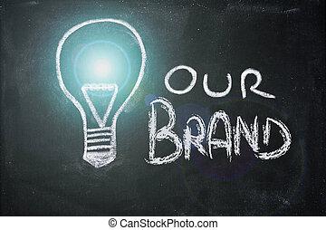 marque, craie, unicité, conception, lightbulb