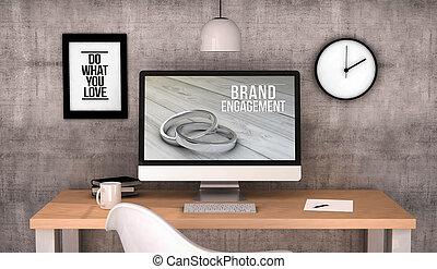 marque, engagement, informatique, espace de travail