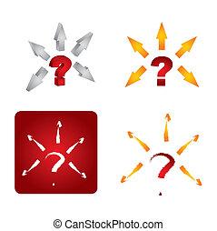 marque, ensemble, question, icône