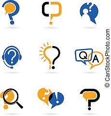 marque, ensemble, question, icônes