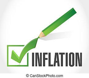 marque, inflation, concept, chèque, signe