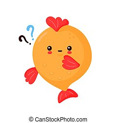 marque, mignon, rigolote, question, heureux, fish