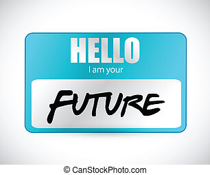 marque nom, illustration, bonjour, avenir, im, ton