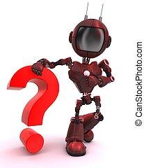 marque, question, androïde, symbole