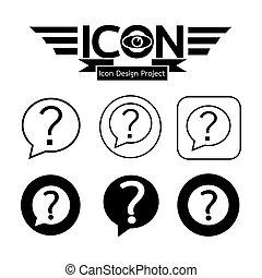 marque, question, icône