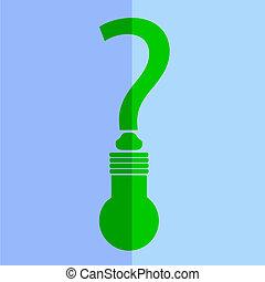 marque, question, lampe