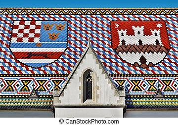 marque, saint, toit, église
