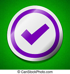 marque, signe., chic, chèque, collant, icône, vert, étiquette, coloré, symbole, arrière-plan.