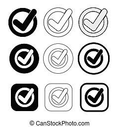 marque, signe, conception, simple, icône, chèque