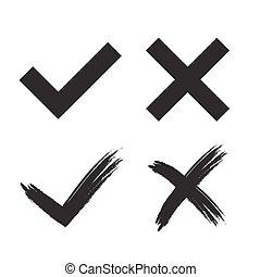 marque, tique, croix, signes