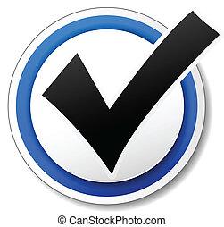 marque, vecteur, chèque, icône