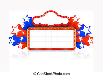 Marquee board announcement in the colors of the national US flag.