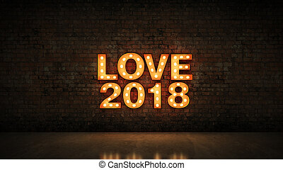 marquee light love 2018 letter sign, New Year 2018. 3d rendering