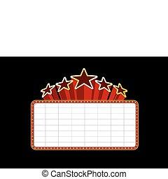 marquee teatro, cassino, filme, em branco, ou