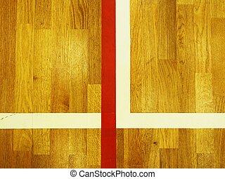 marquer, coloré, plancher, bois, lignes, porté, sports, ligne., coin, salle, rouges, dehors