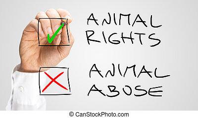 marquer, droits, boîtes, abus, animal, chèque