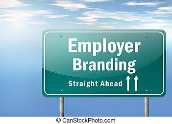 marquer, employeur, autoroute, poteau indicateur