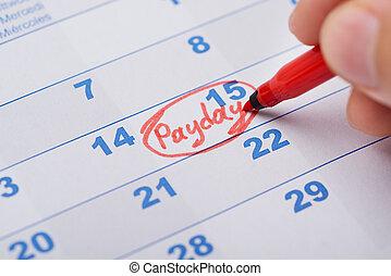 marquer, jour paie, calendrier, main