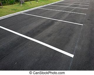 marquer, ligne blanche, vide, stationnement