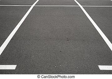 marquer, lignes, endroit, stationnement, blanc, vide