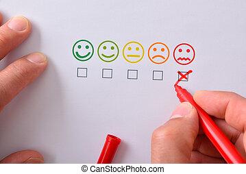 marquer, négatif, main, satisfaction, papier, cinq, représenté, emoticons