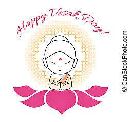 marquer, naissance, purnima, lotus, symbole, day-, bouddha, sacré, vesak, seigneur, ou