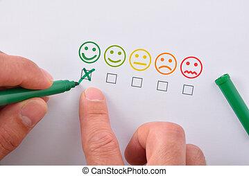 marquer, positif, emoticons, main, satisfaction, papier, cinq, représenté