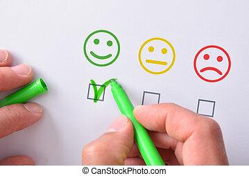 marquer, positif, emoticons, main, satisfaction, papier, représenté