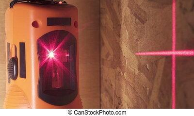marquer, sien, laser, niveau, mur, rayons, surface travail, ...