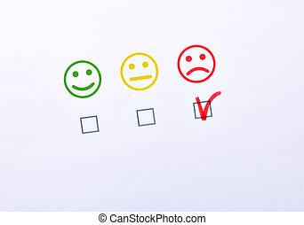 marquer, trois, négatif, satisfaction, papier, représenté, emoticons, main