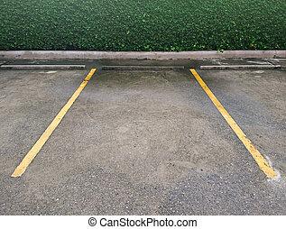 marquer, vide, jaune, stationnement