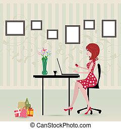 marques, girl, achats, ordinateur portable