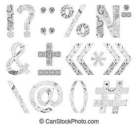 marques, inhabituel, alphabet, griffonnage, style, fond ...
