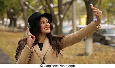 marques, selfie, parc, girl