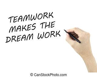 marques, travail, main écrite, collaboration, homme, rêve