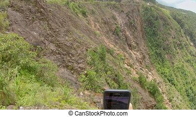 marques, vallée, route, selfies, homme, bas, voyage, prise vue., prend, concept, montagnes, there., images, vue, point, magnifique