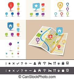 marqueur, app, gps, thème, emplacement