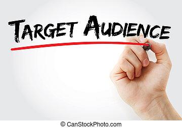 marqueur, audience, main, cible, écriture