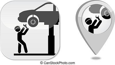 marqueur, auto, point, service, icône