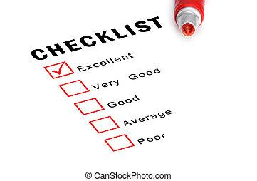marqueur, boxes., liste contrôle, rouges, vérifié